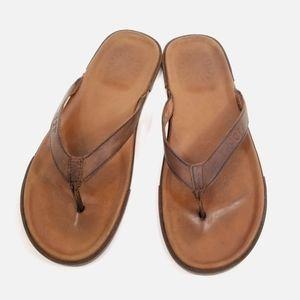 UGG Brown Leather Flip Flops Sandals Men's 12